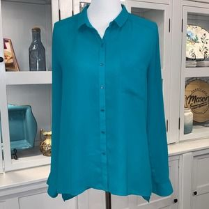 Trouve Long Sleeve Semi Sheer Collared Button Down